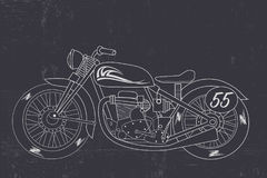 Retro motorcycle concept. Concept of  trendy Retro motorcycle on black background Stock Photo