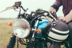 Retro motorcycle detail Royalty Free Stock Photos