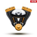 Retro motorcycle engine. Vector Illustration. Stock Image