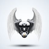 Retro motorcycle engine with White folded wings Stock Images