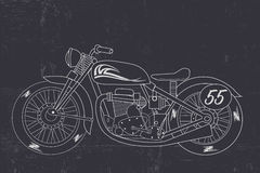 Retro motorcycle, hand drawn motorcycle. Vector for your ideas Royalty Free Stock Photo
