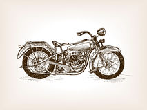 Retro motorcycle hand drawn sketch vector Stock Photography