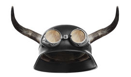Retro motorcycle helmet. Retro motorcycle helmet with bull long horns Stock Photography