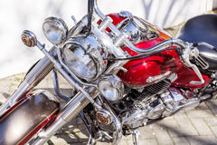 Retro  motorcycle  on the street -closeup Stock Photography