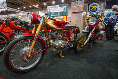 Retro motorcycles Ducati 175 (foreground) and the Moto Guzzi (background). Stock Images
