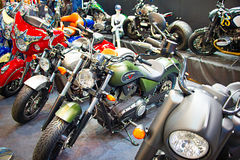 Retro motorcycles at motor show Royalty Free Stock Images