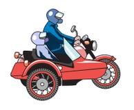 Retro motorcykel med sidecaren med två passagerare Arkivfoto