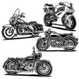 Retro motorcykelillustrationer royaltyfri illustrationer