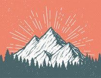 Retro Mountain Postcard stock illustration