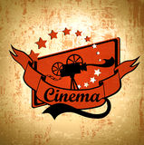 Retro Movie. Retro Cinema Background With Old Movie Camera Label In Black and Red Royalty Free Stock Photography