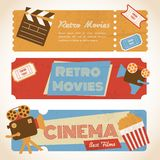 Retro movie banners. Retro movie cinema ticket banners with vintage camera popcorn vector illustration Royalty Free Stock Photo