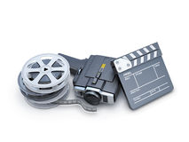 Retro movie camera clapper board and film reel. Retro movie camera, clapper board and film reel isolated on white background. 3d illustration Royalty Free Stock Photography