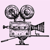 Retro movie camera. Doodle style, sketch illustration, hand drawn, vector Royalty Free Stock Photography