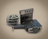 Retro movie camera movie clapper and film reel Stock Images