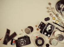 Retro movie camera and photo Royalty Free Stock Photography