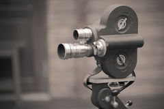 Retro movie camera on a tripod Royalty Free Stock Photo