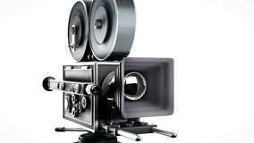 Retro movie camera. Vintage movie camera isolated on white front view Royalty Free Stock Image
