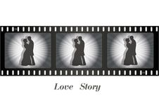 Retro movie, couple in love. Vector - Illustration - Drawing Stock Photography