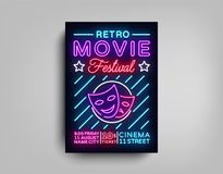 Retro Movie Festival postcard typography design neon template. Brochure in style neon, neon sign, colorful poster. Banner light, night bright advertising on Stock Image