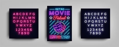 Retro Movie Festival postcard typography design neon template. Brochure style neon, neon sign, poster, banner, night. Bright advertising on movies, cinema Royalty Free Stock Images