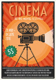 Retro Movie Festival Poster. With film projector on tripod in center on orange background vector illustration Stock Image
