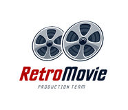 Retro Movie Logo. Movie production studio logo design template. Retro cinema reels. Vector art Stock Photo