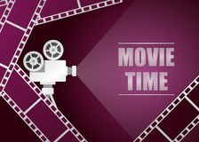 Retro movie projector with movie strip. Vector background Stock Photo