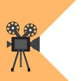 Retro movie projector vector detailed poster with shadow Stock Photo
