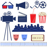 Retro movie set. Flat vector Stock Photos