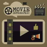 Retro movie template, media player, flat design, illustration, modern style, , concept, icons,digital, online, advertising Royalty Free Stock Photography