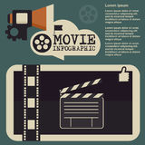 Retro movie template, media player, flat design, illustration, modern style, , concept, icons,digital, online, advertising Royalty Free Stock Image
