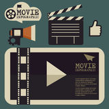Retro movie template, media player, flat design, illustration, modern style, , concept, icons,digital, online, advertising Stock Photography