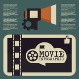 Retro movie template, media player, flat design, illustration, modern style, , concept, icons,digital, online, advertising. Frame, movie, silent, audio, black Stock Image