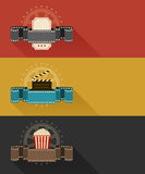 Retro movie theater posters flat design Royalty Free Stock Photos