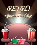 Retro Movies Fan Club poster Royalty Free Stock Photography
