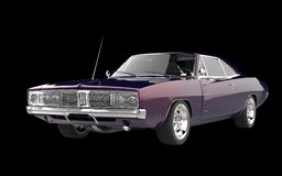 Retro muscle car - purple pearlescent paint. On black background Stock Images