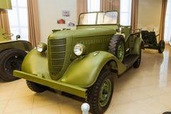 Retro museum för militär historia för stridpansarbilutställning, Ekaterinburg, Ryssland, 05 03 2016 år Arkivbilder