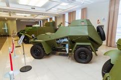 Retro museum för militär historia för stridpansarbilutställning, Ekaterinburg, Ryssland, 05 03 2016 år Arkivbild
