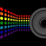Retro Music. Abstract Background - Multicolor Dots and Loudspeaker on Black Background vector illustration