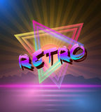 Retro Music Abstract Poster Cover 1980s Style Background. Neon Disco Poster Template 80s Background Royalty Free Stock Photography