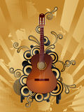 Retro music background. Abstract vector retro background with the guitar Royalty Free Stock Images