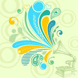 Retro music background. Retro music concept; a gramophone with nostalgic tunes Stock Photos