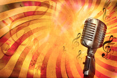 Retro music background. With microphone Royalty Free Stock Image