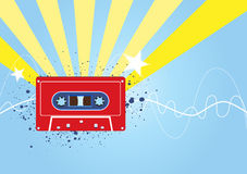 Retro music background. Retro music theme with tape cassette Stock Images