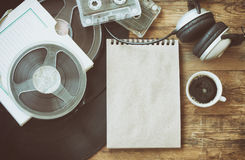 Retro music background, coffee cup, notebook Stock Photo