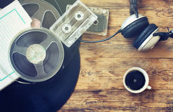 Retro music background, cup of coffee Royalty Free Stock Photography