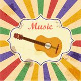 Retro music background with guitar Stock Photography