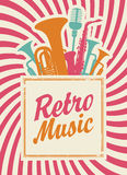 Retro music. Banner with the inscription retro music, woodwinds and microphone Stock Photo