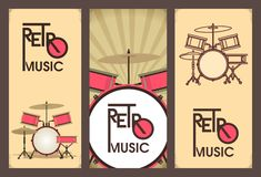 Retro music banner set Stock Photo