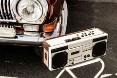 Retro music and cars Royalty Free Stock Photo